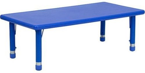 Adjustable Height Rectangular Plastic Activity Table, Blue
