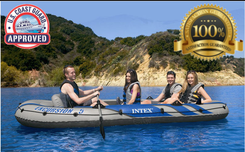 Inflatable Dinghy Boat Oars 5 Person Fishing Row Rafting Lake Rowboat Skiff Camp