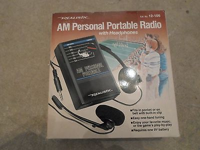 Vintage Realistic AM Personal Portable Radio with Headphones NEW