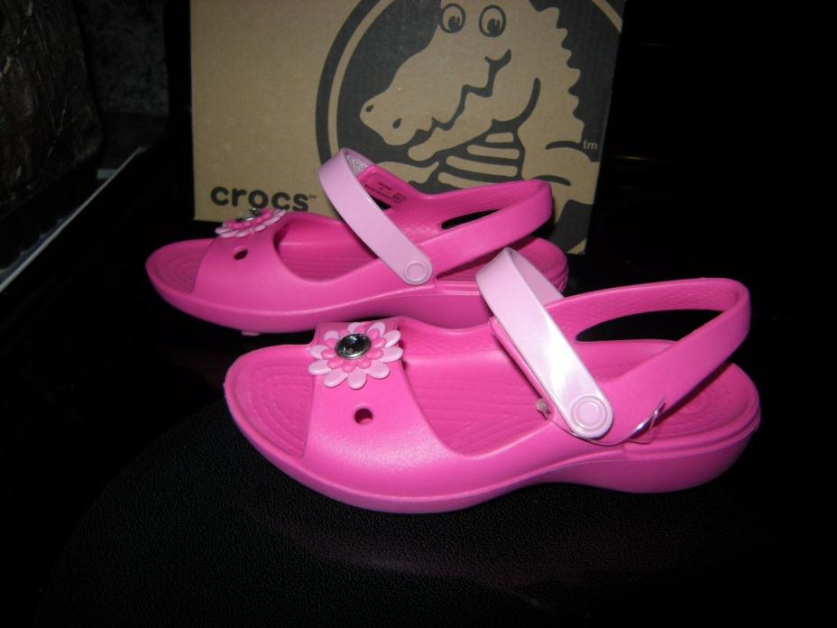 Brand New Toddler Girls Pink Crocs Keeley Mini Wedge Sandals, Size 10