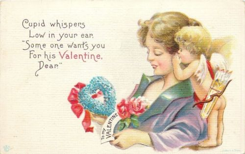 James E Pitts~Bare Cupid Whispers in Lovely Lady's Ear~Wants You For Valentine