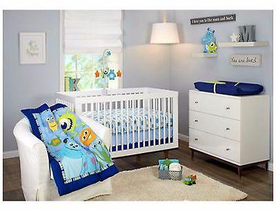 Crib Bedding Set 3-Piece Boys Baby Nursery Room Monsters inc Toddler Bedroom New