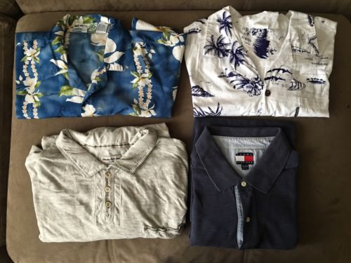 Men's Lot Of 4 Short Sleeve Shirts Size XXL, 2X Tommy Bahama, Tommy Hilfiger, HW