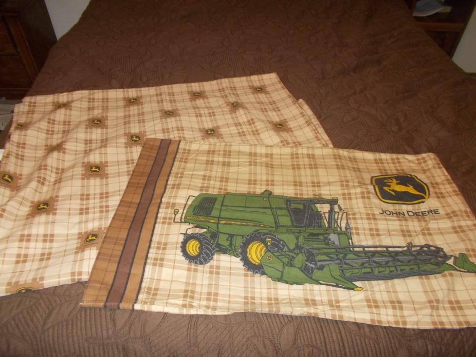 JOHN DEERE VINTAGE FLAT TWIN BED SHEET WITH PILLOWCASE FABRIC