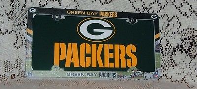 GREEN BAY PACKERS PLASTIC LICENSE PLATE AND FULL COLOR FRAME DEAL 6