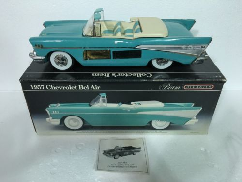 Vintage Jim Beam Decanter 1957 Chevy Bel Air Convertible-Blue/White-Original Box