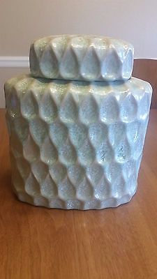 Green Textured Decorative Vase Canister with Lid