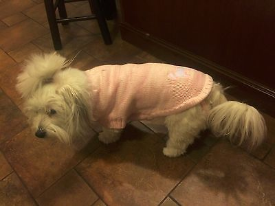 New Dress Barn Pink Dog Sweater  S Large