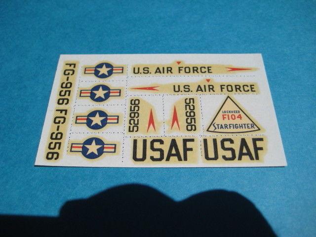 Aurora F-104 starfighter kit No. 291 USAF DECAL ONLY