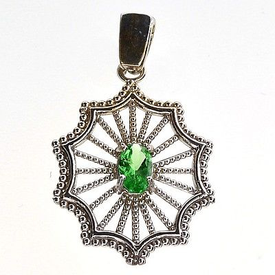 Apple Green Tsavorite 14kt White Pendant