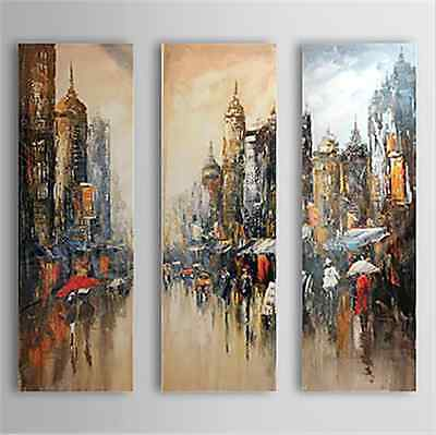 100% handmade Oil/Acrylic painting on canvas is ready to hang 3PC City Scape