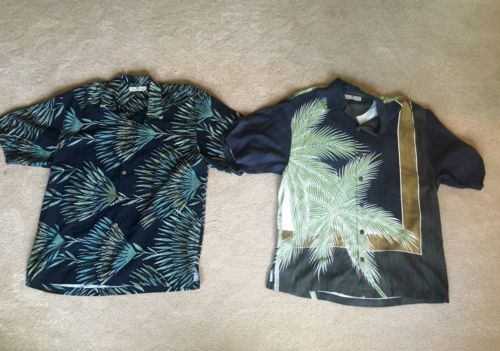 LOT 2 Mens M TOMMY BAHAMA Short Sleeve Silk Shirts Wooden Button Hawaiian MINT!