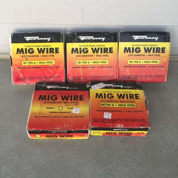Forney ER-70S-6 (5) 10# lb Roll Lot of .023 & .024 Mig Welder Wire 50# lbs Total