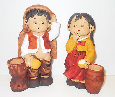 Mexican South American Western Children Whimsical Figurine Set Candle Holder