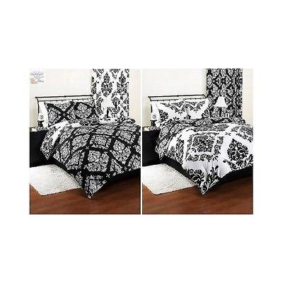 Bedding Comforter Reversible Damask Set Modern Black White Beautiful Shams QUEEN
