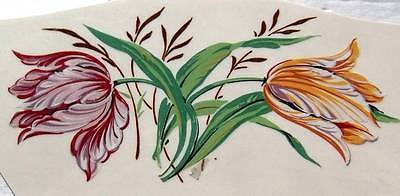 #5211 Ceramic Waterslide Decals 3 RED N YELLOW TULIPS  4 1/2