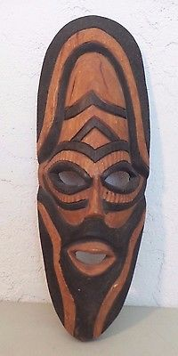 Large Wood African hand Carved Tribal Mask