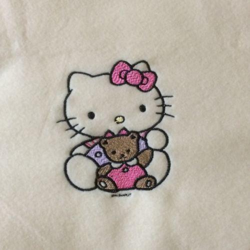 Personalized Embroidery Baby Fleece Hello Kitty Blanket