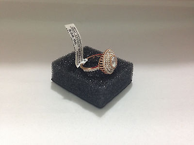 Joan Boyce ROMANTIC RETRO CZ and Crystal Pave Round Ring ROSE GOLD TONE size 7