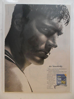 1991 Print Ad Shick Slim Twin ST Shaving Razor ~ Bill Laimbeer, Detroit Pistons