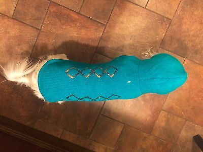 New Dress Barn Aqua Color Dog Sweater With Hood S Large