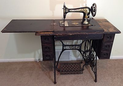 Antique Singer Treadle Sewing Machine Folding Table with Accessories 1919