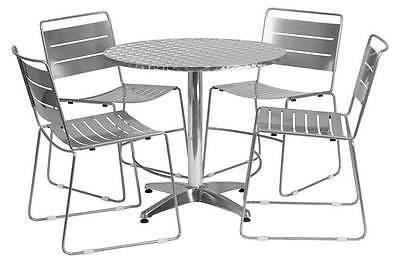 5-Pc Round Aluminum Dining Set in Silver [ID 3425144]