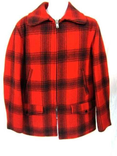Vtg Hunting Jacket SZ Large Mens L Lumberjack Coat Red Black Plaid Thick Wool FS