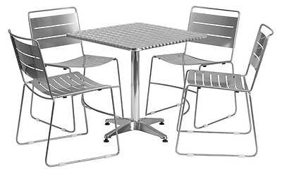 5-Pc Square Dining Set in Silver [ID 3425142]