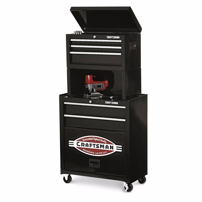 Craftsman 5 Drawer Case Cabinet Garage Storage Mechanic Riser Tool Box Chest.