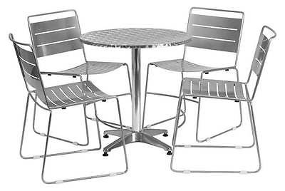 5-Pc Aluminum Dining Set in Silver [ID 3425139]