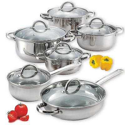 Cook N Home NC-0025012-Piece Durable Stainless Steel Scratch Free Cooking Set