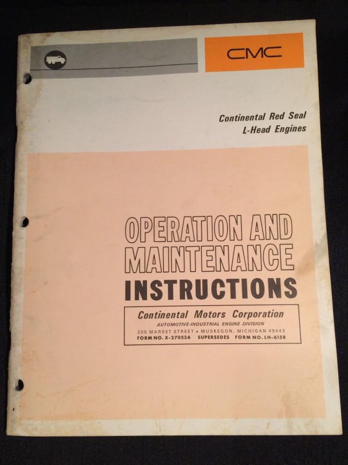 Vintage CMC Continental Red Seal L-Head Engines Operation & Instruction Manual