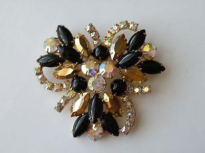 Juliana or Juliana Style Black glass, Aurum Gold Swarovski rhinestone brooch pin
