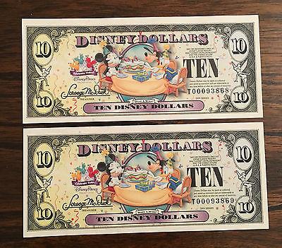 Disney Dollars | 2 Consecutive Ten Dollar Bills | 2009 | Uncirculated