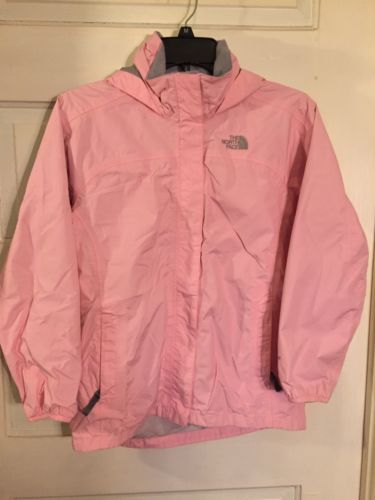 Girls North Face Rain Jacket Pink Hood Size Large 12/14 With Dust Cover