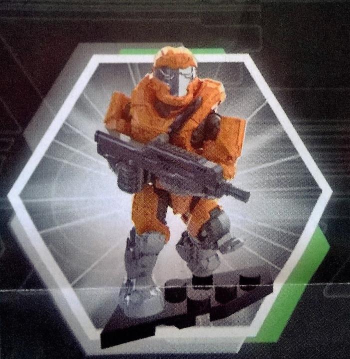 SEALED NEW RARE - Halo Mega Bloks Foxtrot Series UNSC Orange Armor Spartan JFO
