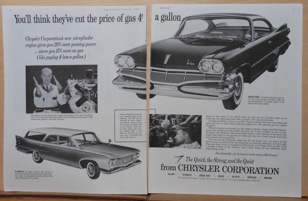 1960 two page magazine ad for Dodge, Chrysler - Dart, You'll Think gas price cut