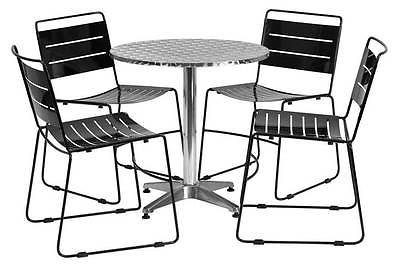 5-Pc Round Dining Set in Black [ID 3425138]