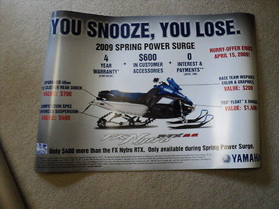 Vintage 2008 Yamaha If you Snooze You Lose Snowmobile Poster