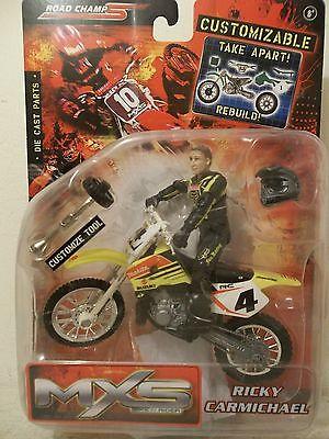 2005 JAKKS MXS RICKY CARMICHAEL #4 MAKITA FOX SUZUKI RM250 MOTOCROSSER