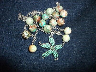 Starfish Pendant and Sea Sediment JasperStone  Bead Necklace