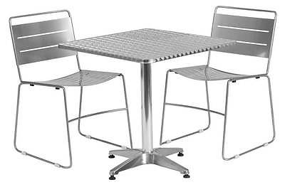 3-Pc Square Aluminum Dining Set in Silver [ID 3425140]