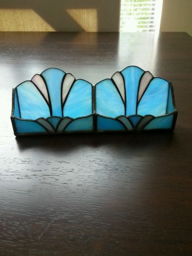 Blue Stained Glass Business Card Holder