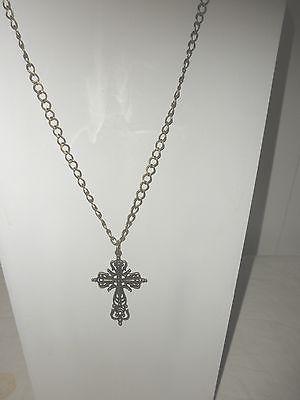 Antique Ornate Brass Cross on Brass Chain