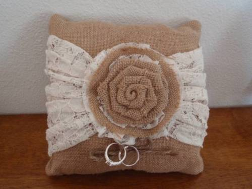 Burlap & Lace Ring Pillow with Flower and Real Stearling Silver Rings!