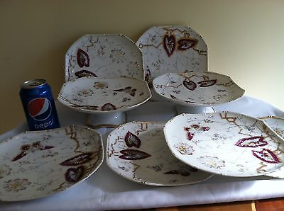 ANTIQUE 19th C OLD PARIS 6 PLATES 2 COMPOTE VASES H/PAINTED LEAVES BUTTERFLIES