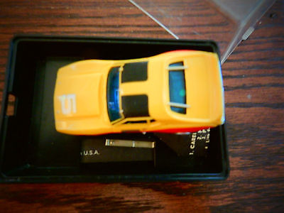 Aurora Slot Car 1960/70 HO Yellow/Black Corvette with case Free Shipping Cont US