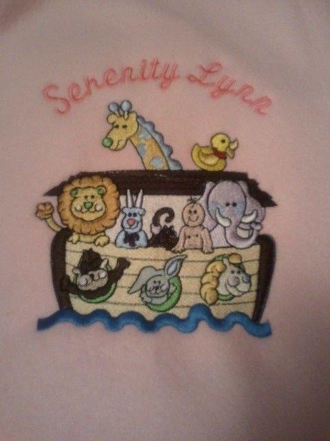 Personalized Embroidery Baby Fleece Noah's Ark Blanket