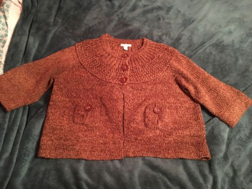 Women's Dress Barn Brown Three Quarter Sleeve Cardigan Sweater Plus Size 18/20